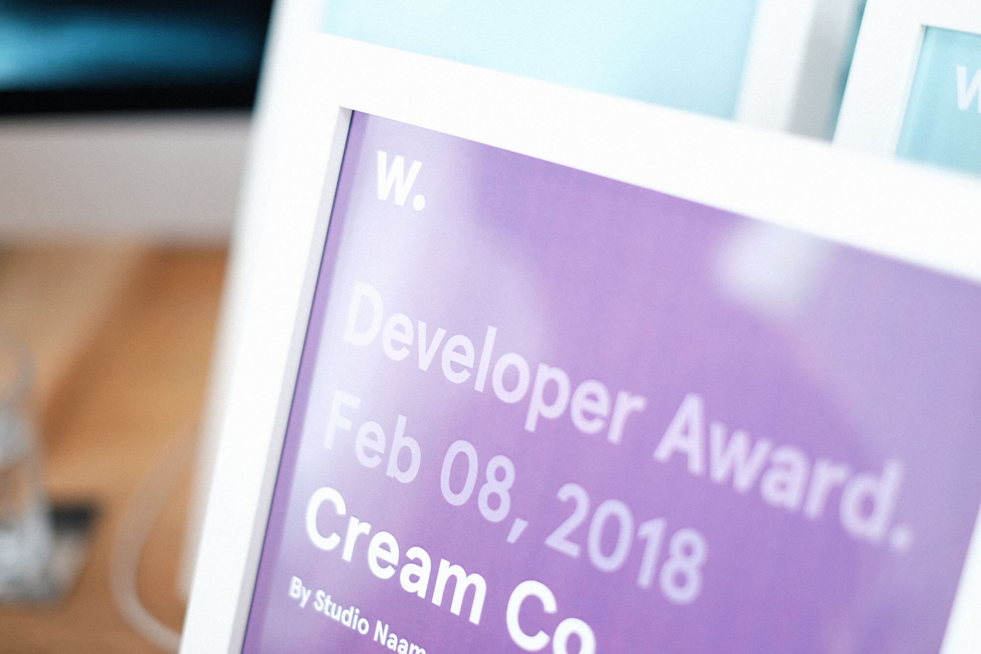 Developer award by Awwwards for Cream Co. webdesign