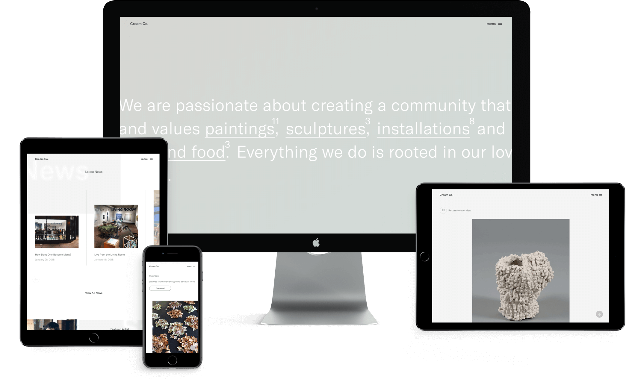 Cream Co. website design on mobile, tablet & desktop