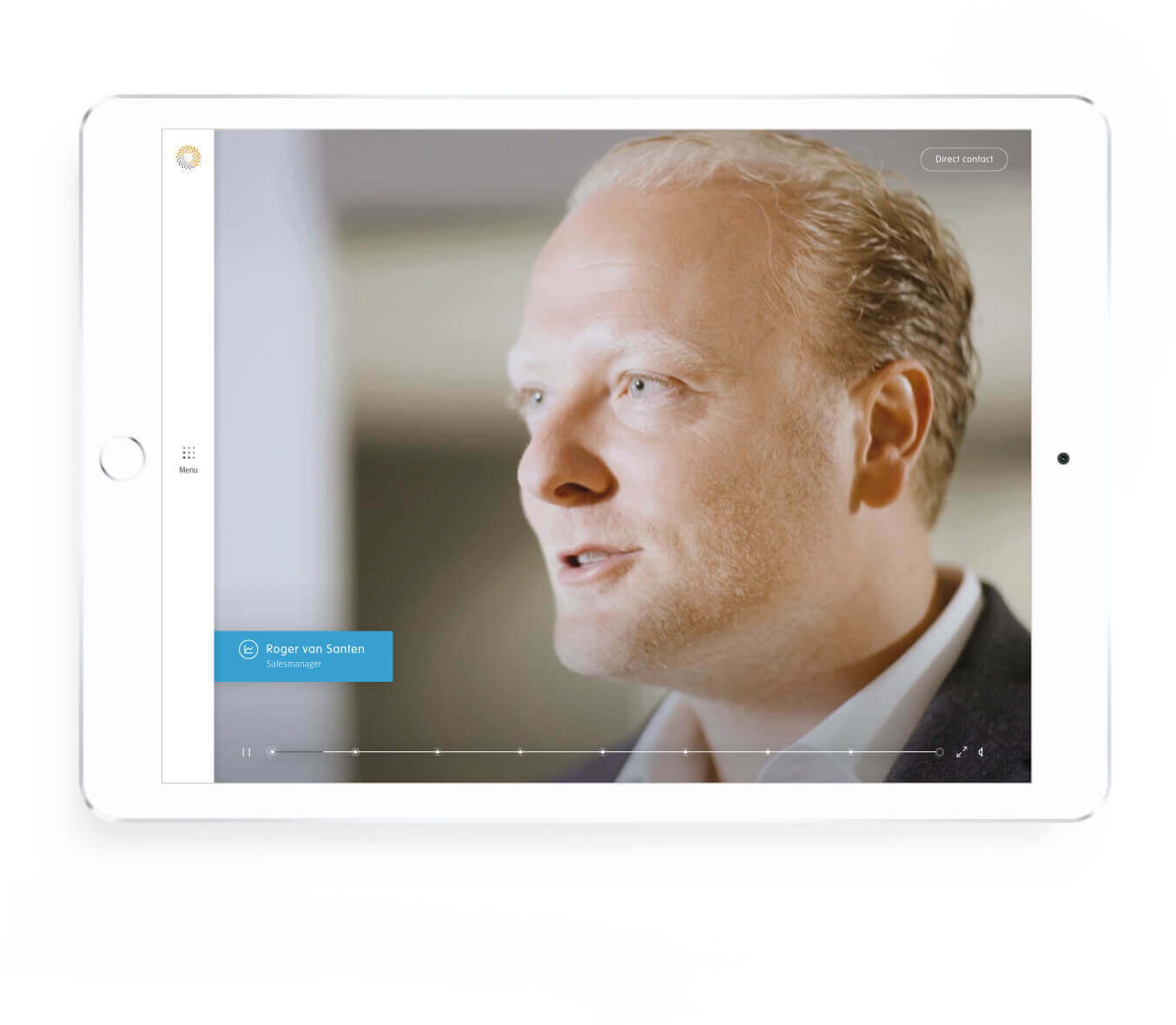 Detron introducing male employee screen on tablet