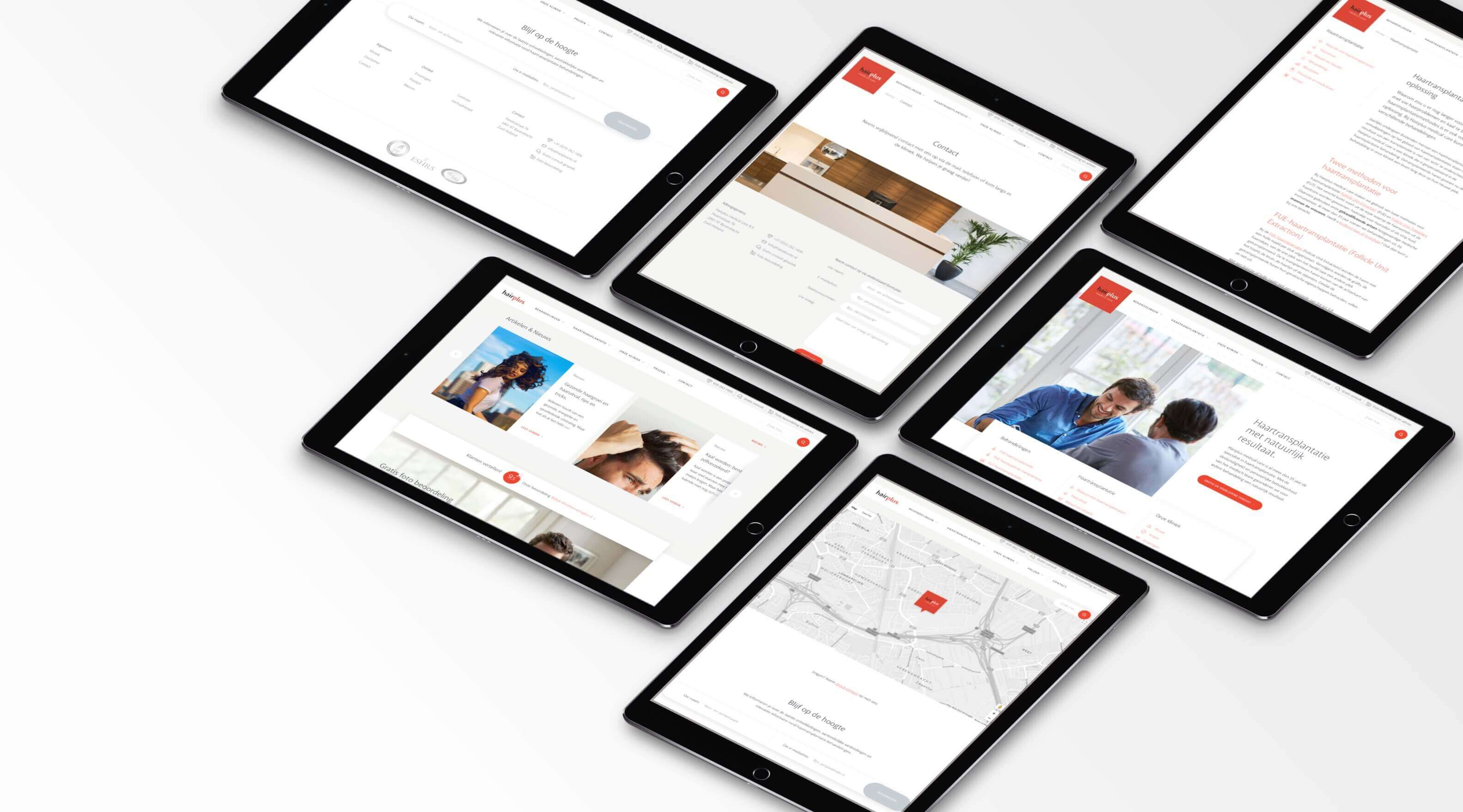 Hairplus Medical Care website pictured on 6 tablets