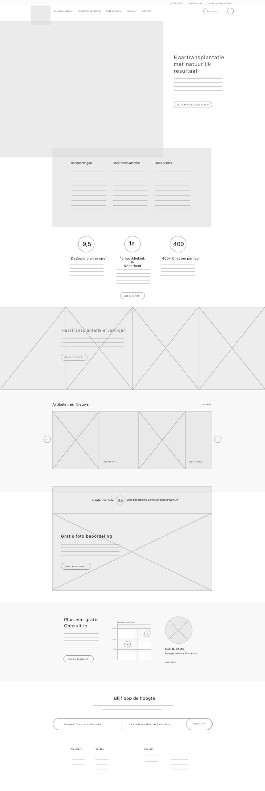 Hairplus Medical Care wireframe of homepage