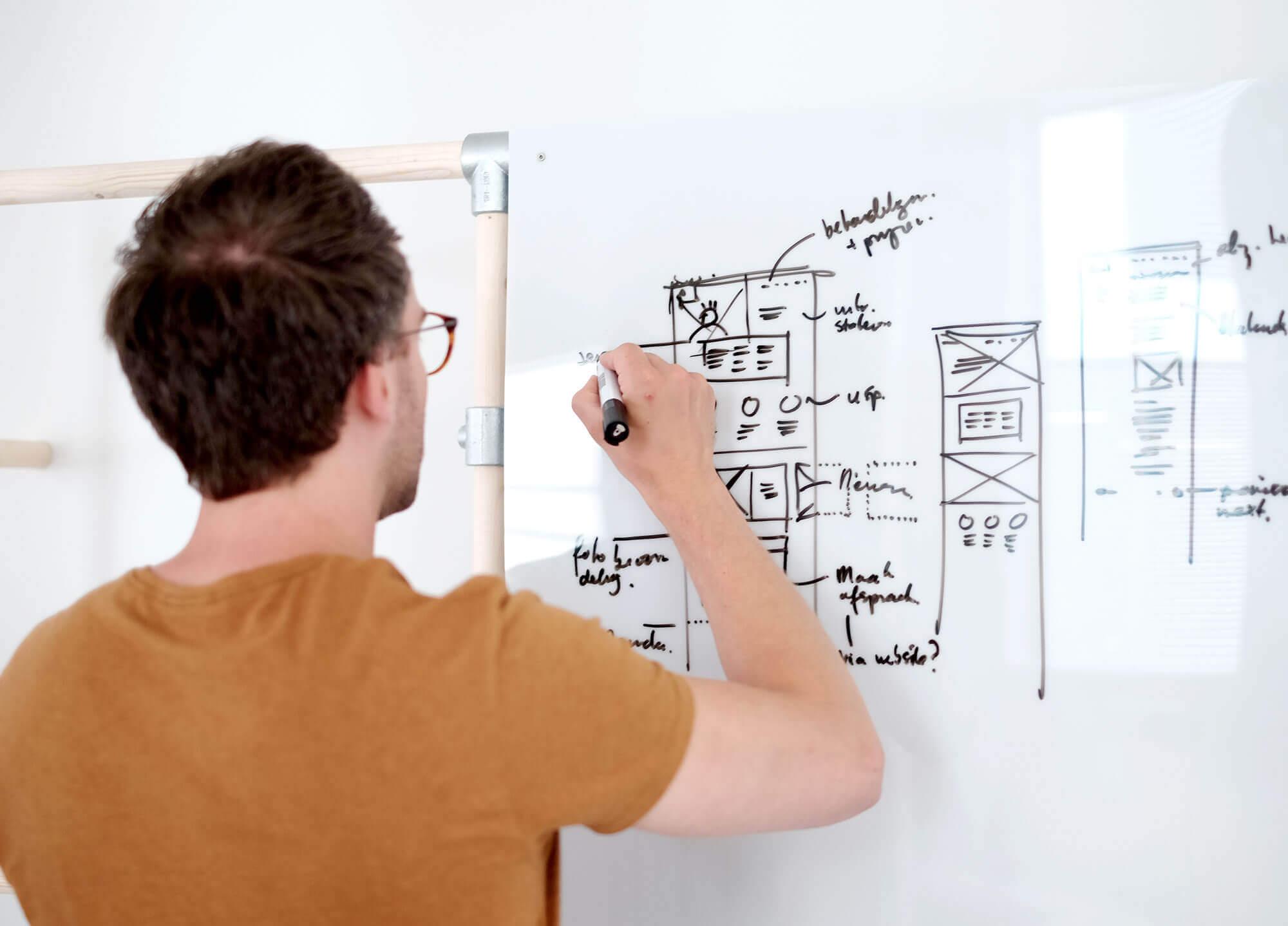 Man voor een whiteboard die een website schetst