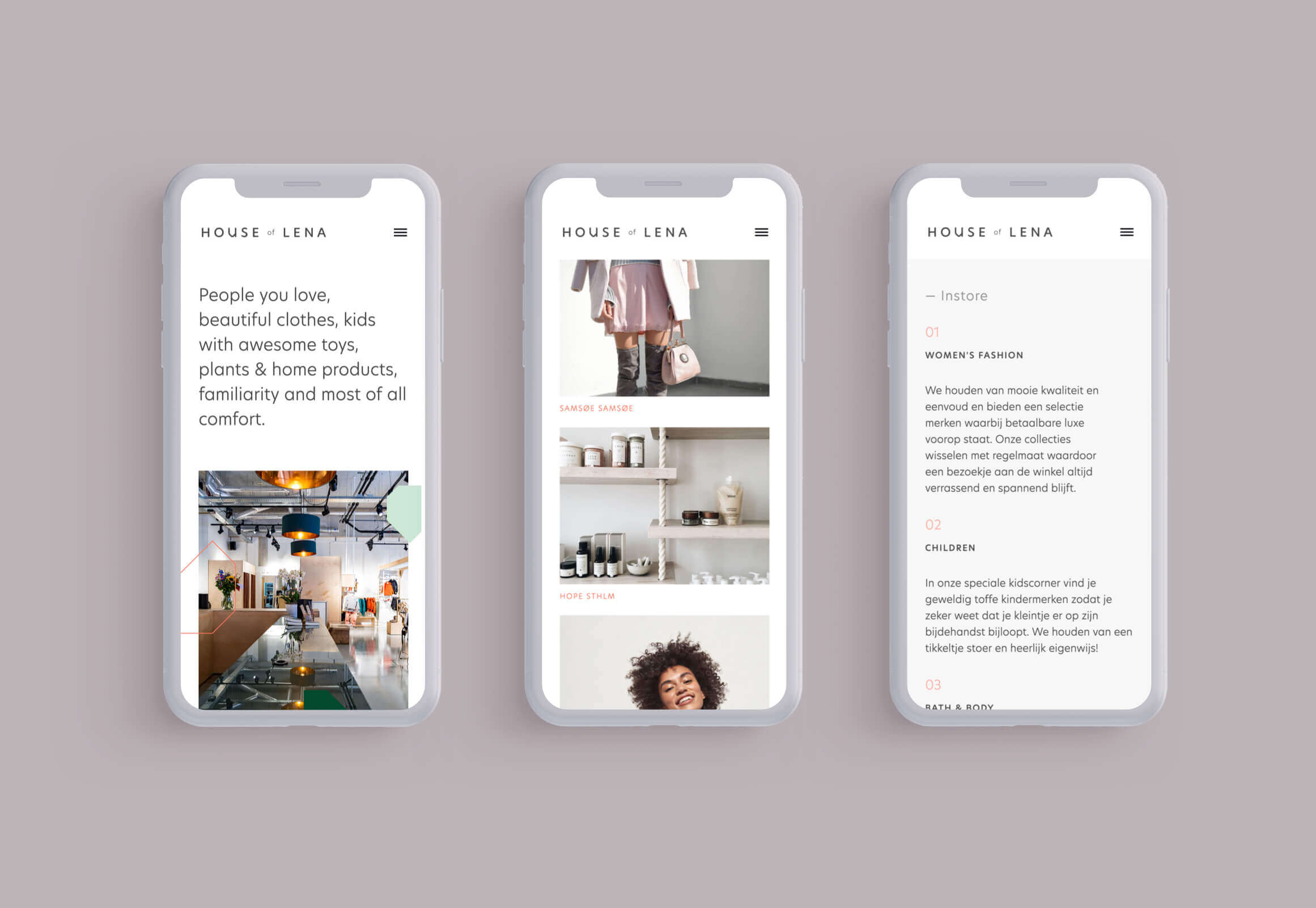 House of Lena website ontwerp afgebeeld op 3 mobiele telefoons