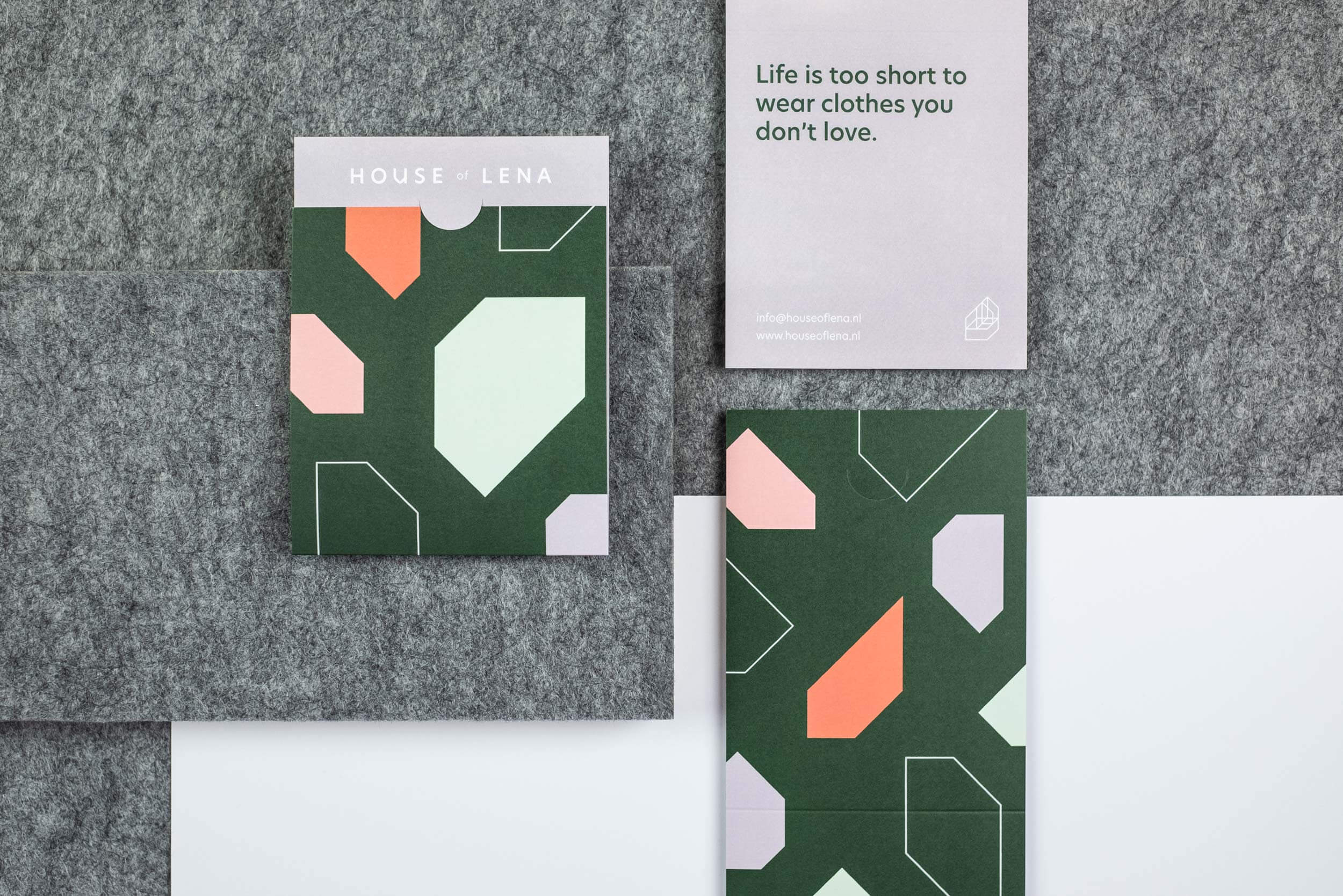 Three receipt holders for the graphic design of the House of Lena brand identity