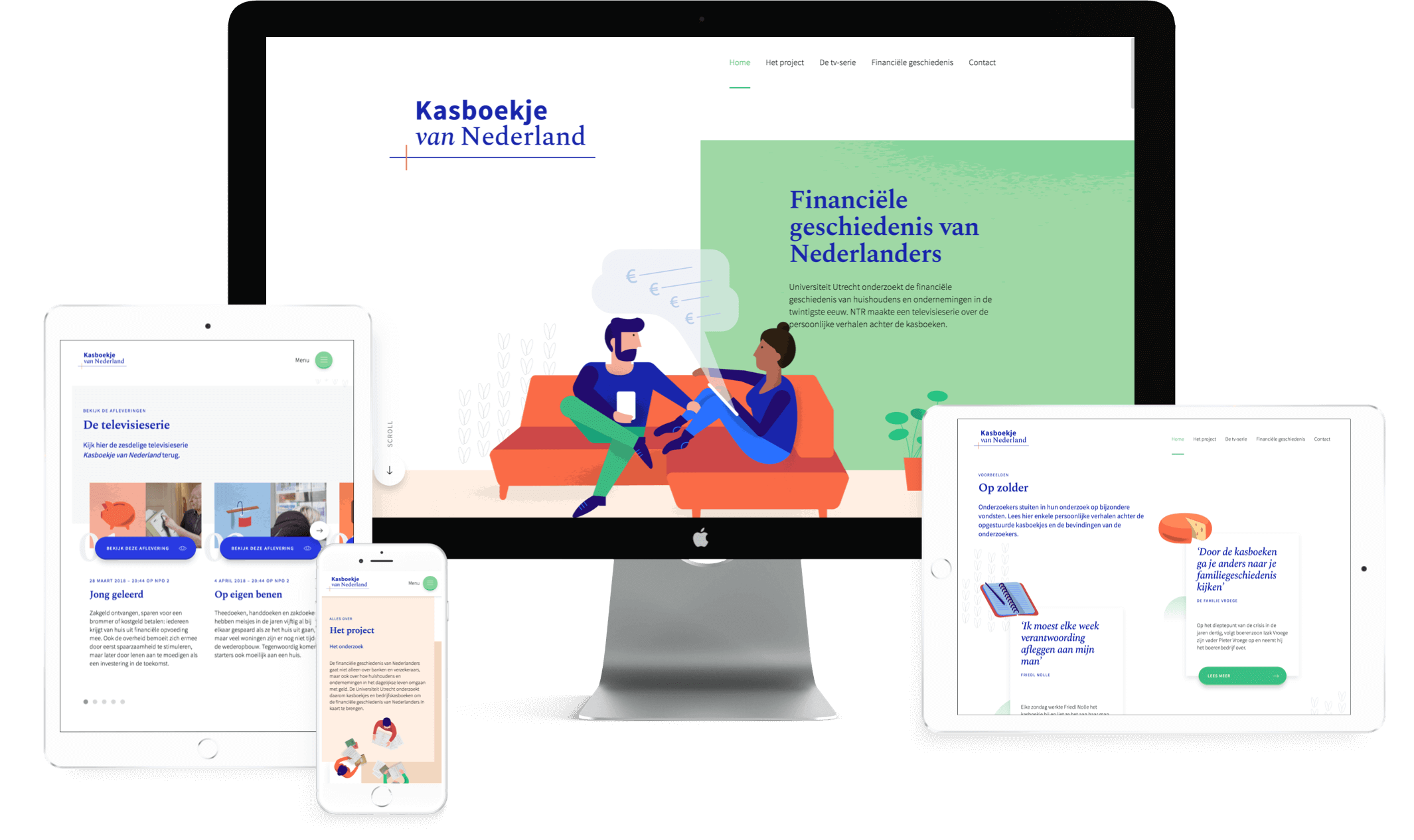 Overview of tablet, mobile and desktop view of Kasboekje website