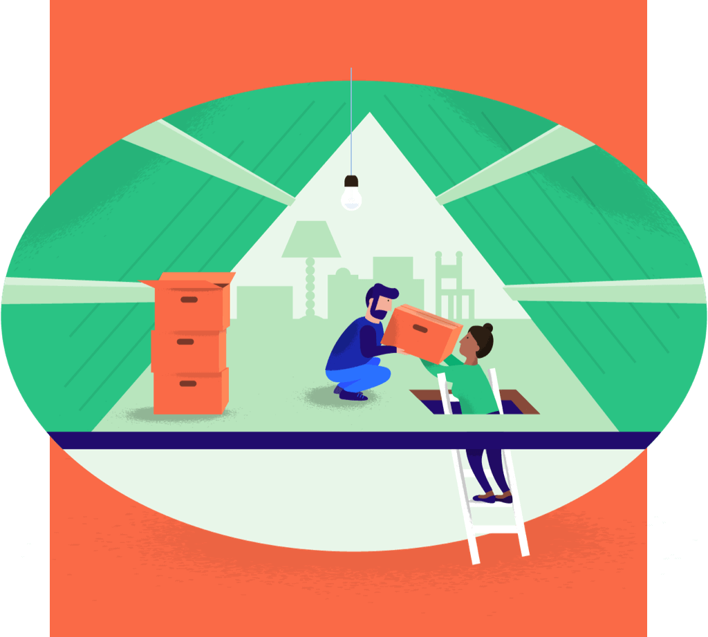 Illustration of people storing boxes on attic