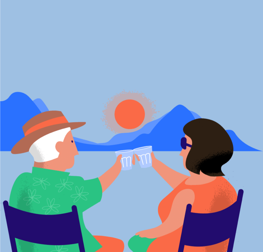 Kasboekje van Nederland illustration of two people at setting sun