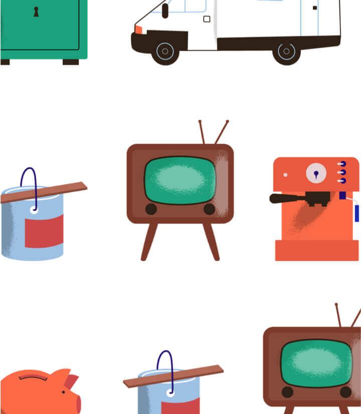 Kasboekje van Nederland illustration of television, paint, coffee-machine, etc.