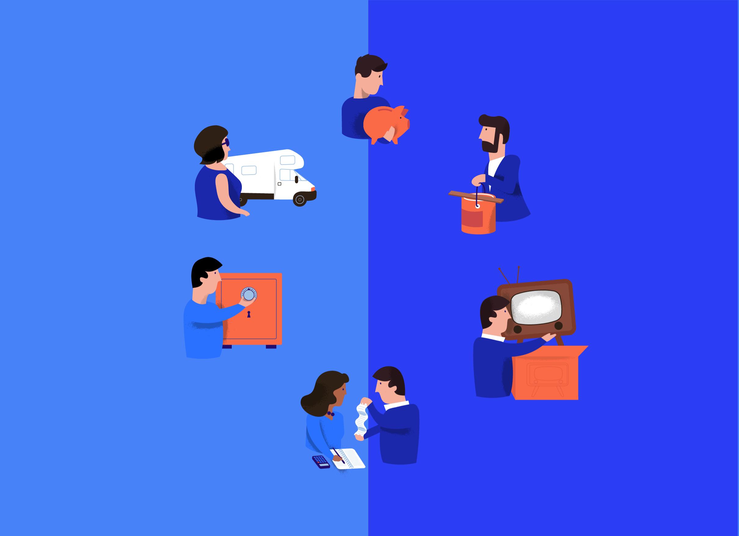 Kasboekje van Nederland 6 illustrations, one for every episode