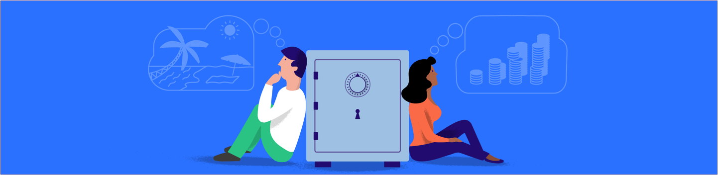 Kasboekje van Nederland illustration of two people sitting next to a safe.