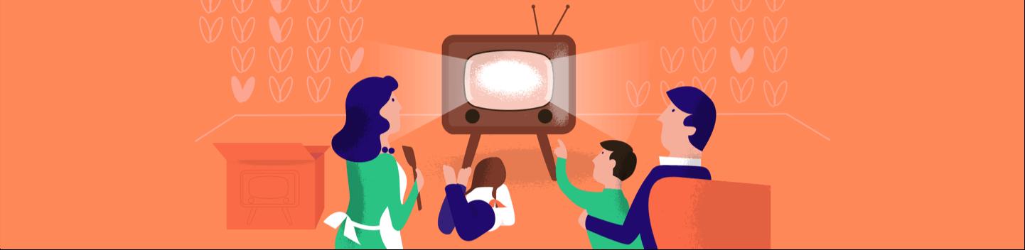 Kasboekje van Nederland illustration of family in front of a television.