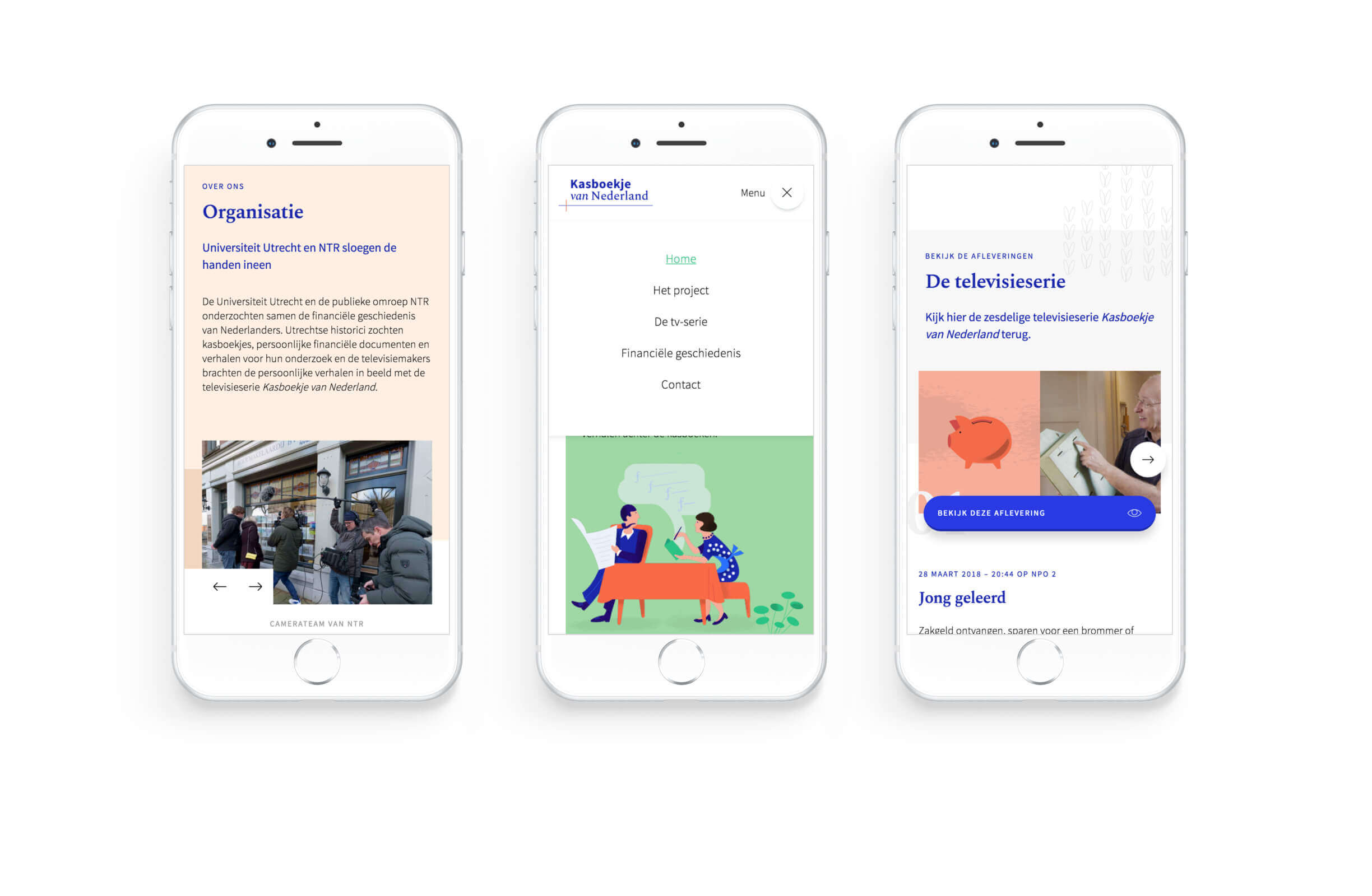 3 iPhone mockups show the Kasboekje van Nederland website.
