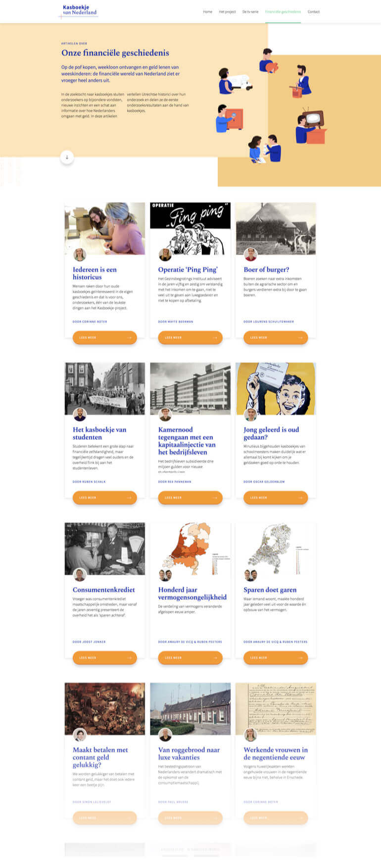 Kaboekje van Nederland page showing all the articles and research