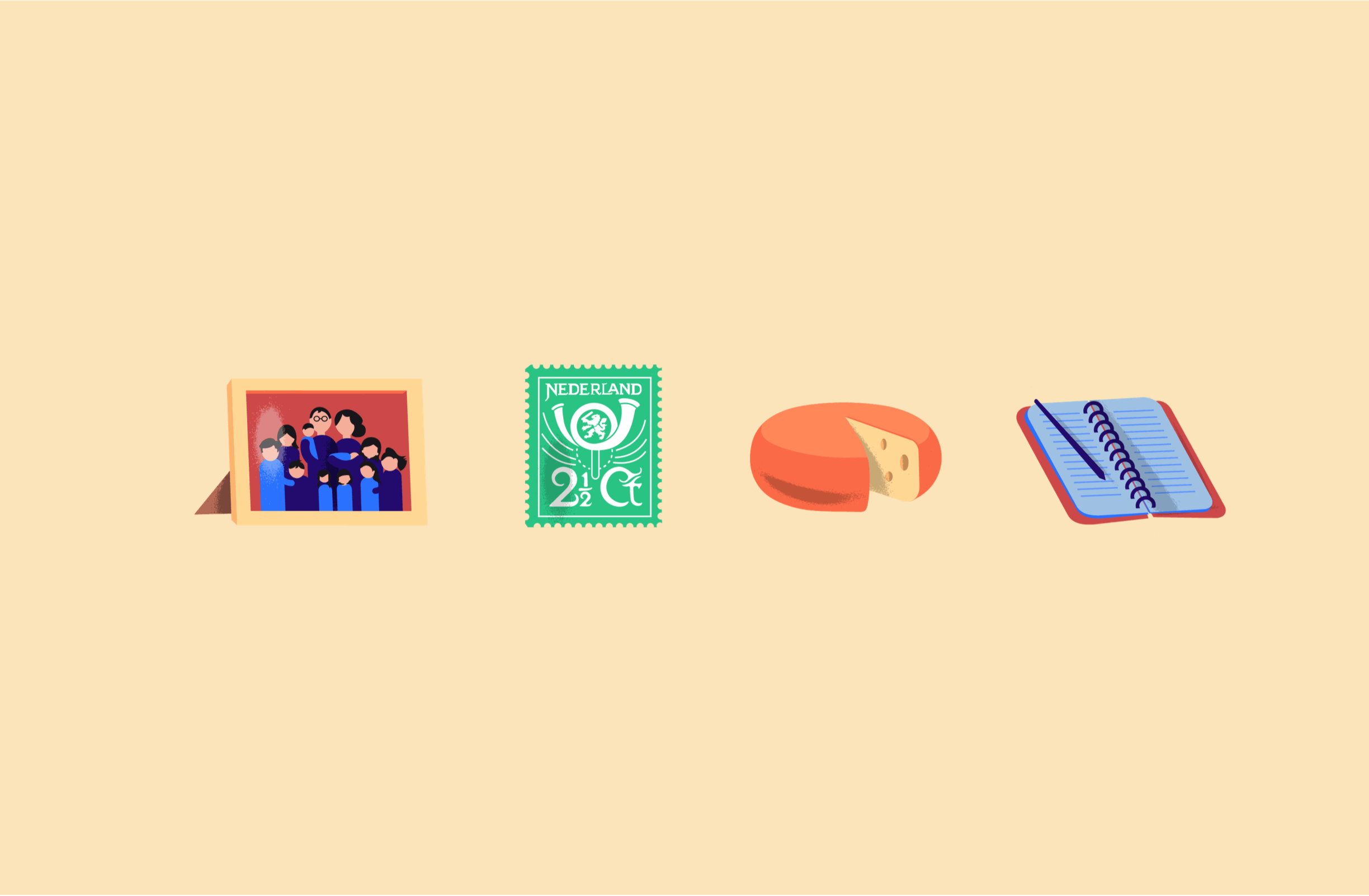 4 illustrations of a photo frame, post stamp, cheese wheel and notebook.