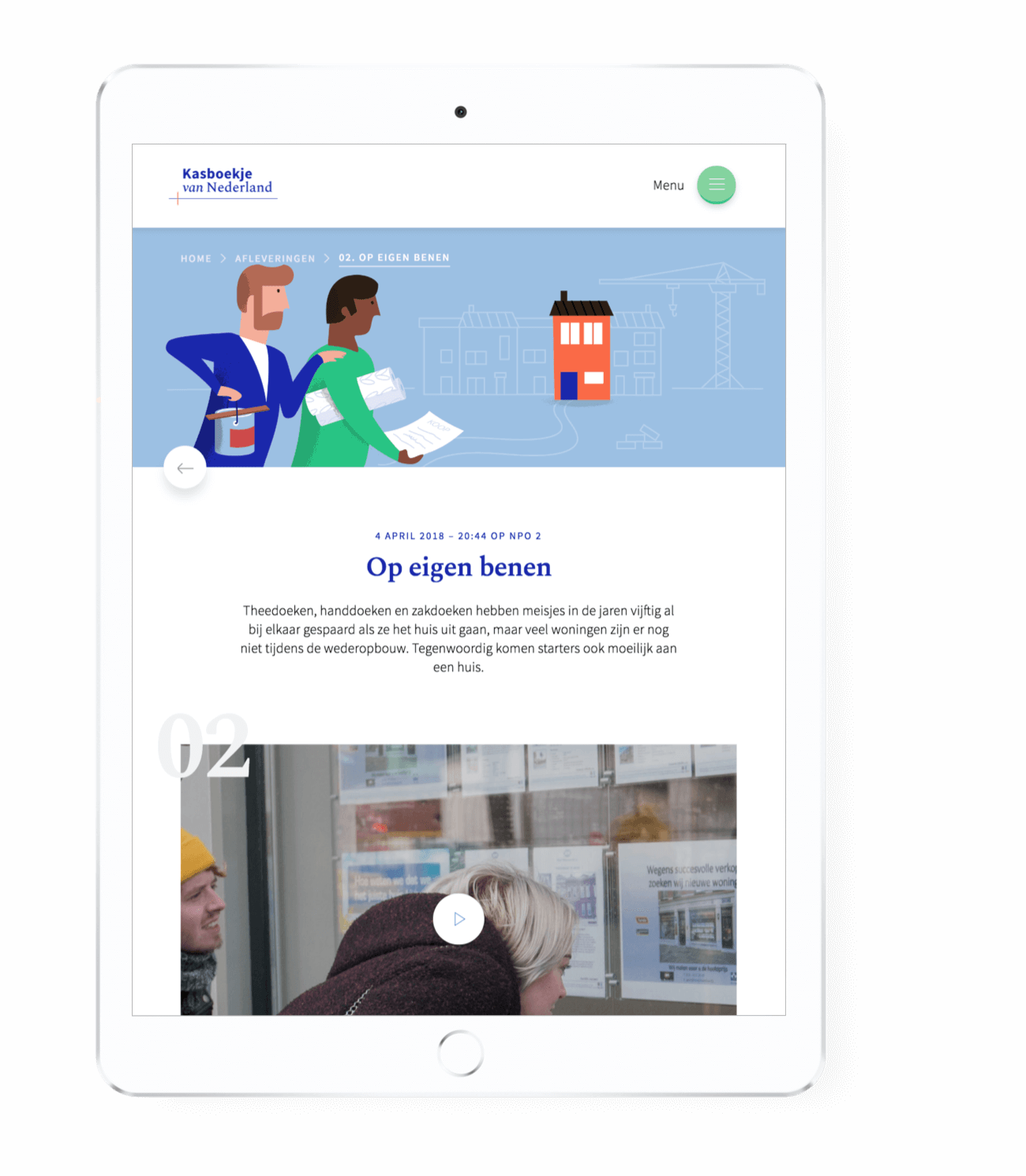 Kasboekje van Nederland episodes playback page on an iPad tablet