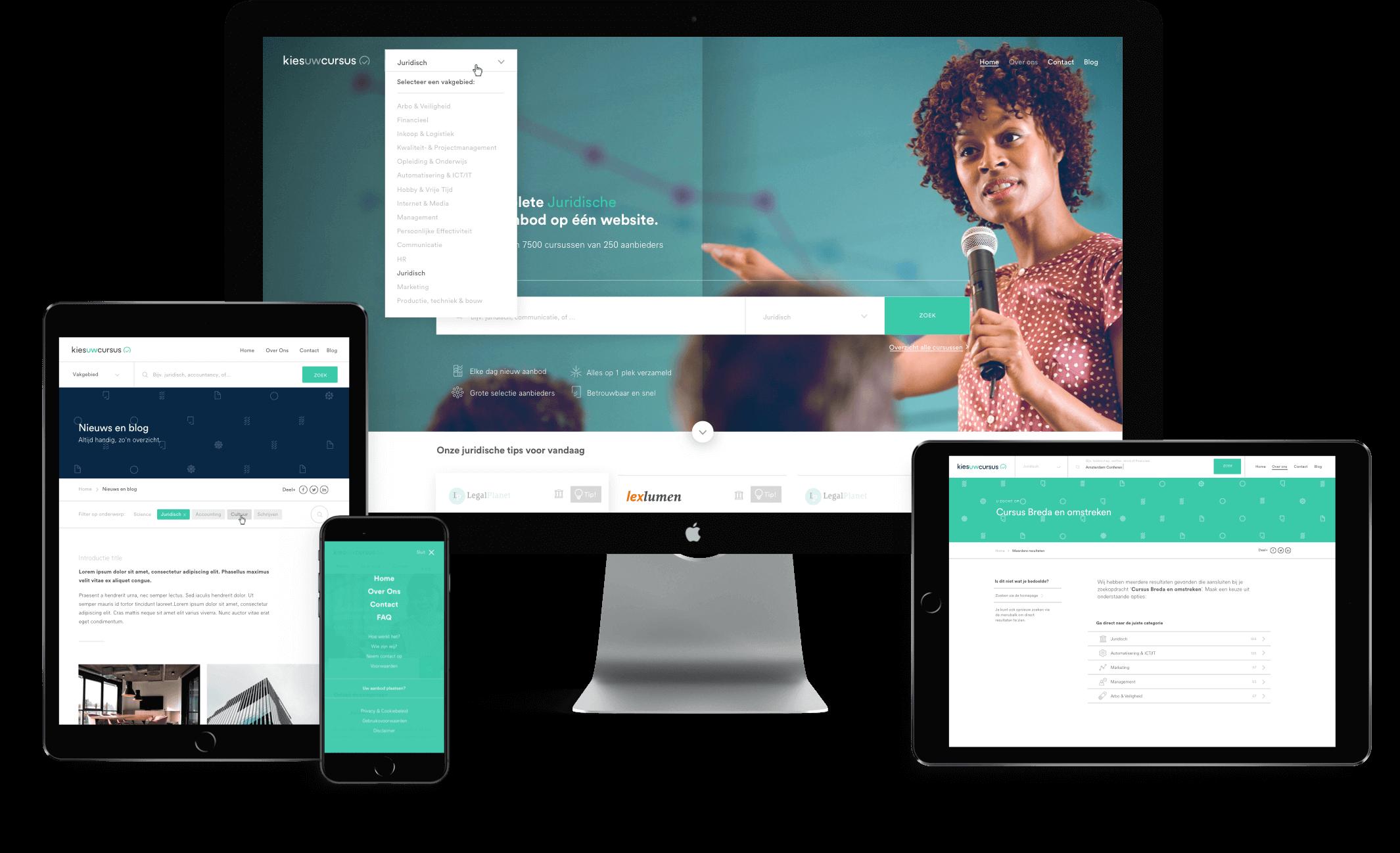 Kies uw Cursus website design displayed on tablet, mobile and desktop