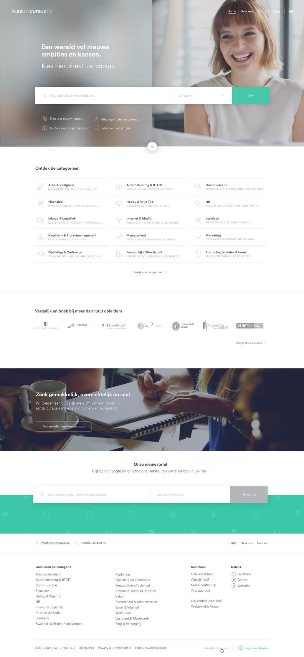 Kies uw Cursus homepage design
