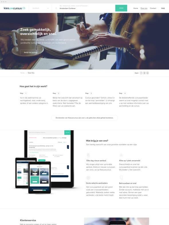 Kies uw Cursus about page design