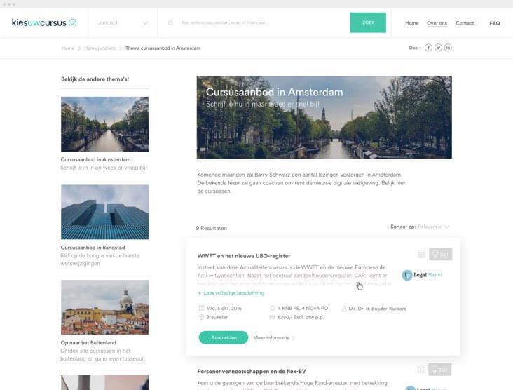 Kies uw Cursus thema pagina overzicht ontwerp