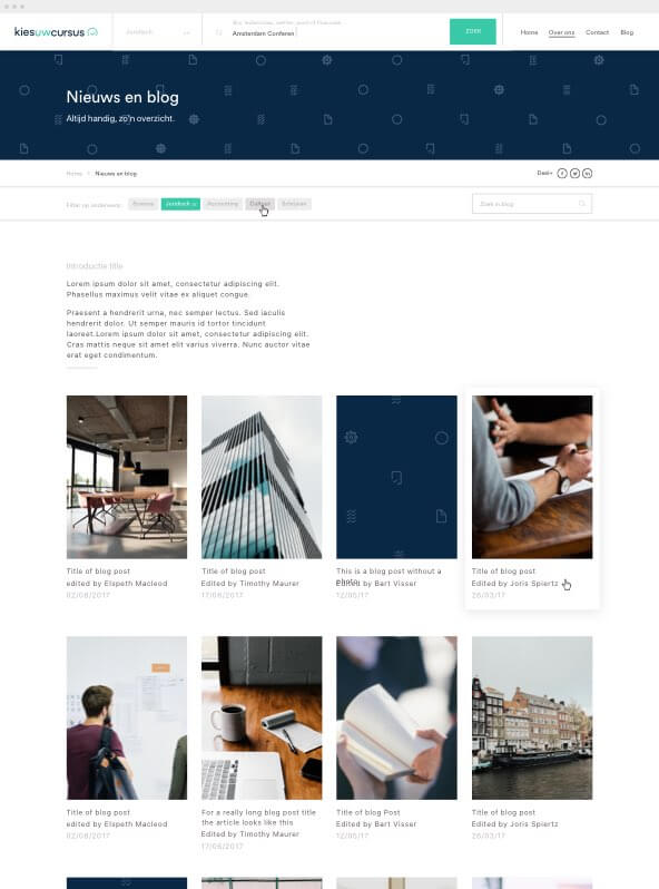 Kies uw Cursus blog page design