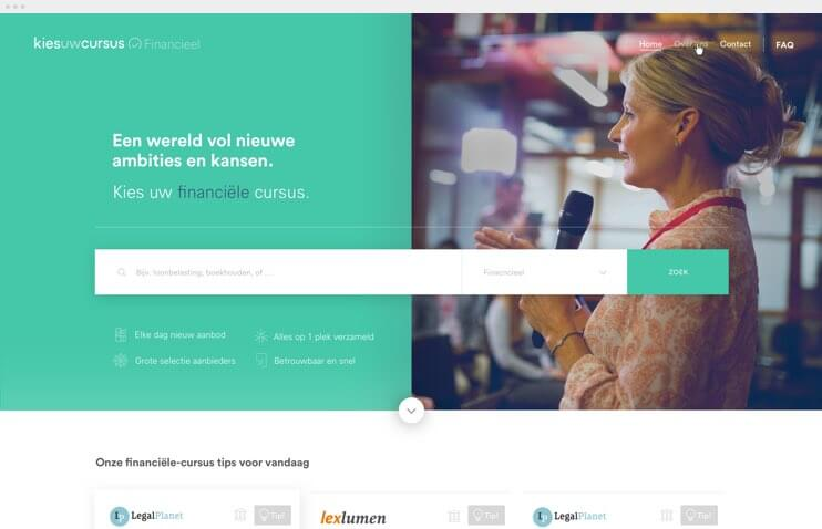 Kies uw Cursus alternative homepage design