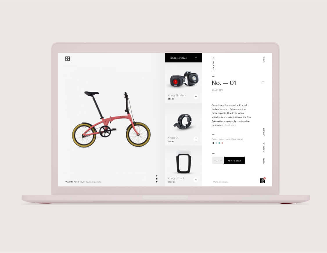 Webshop eCommerce page for Pyora