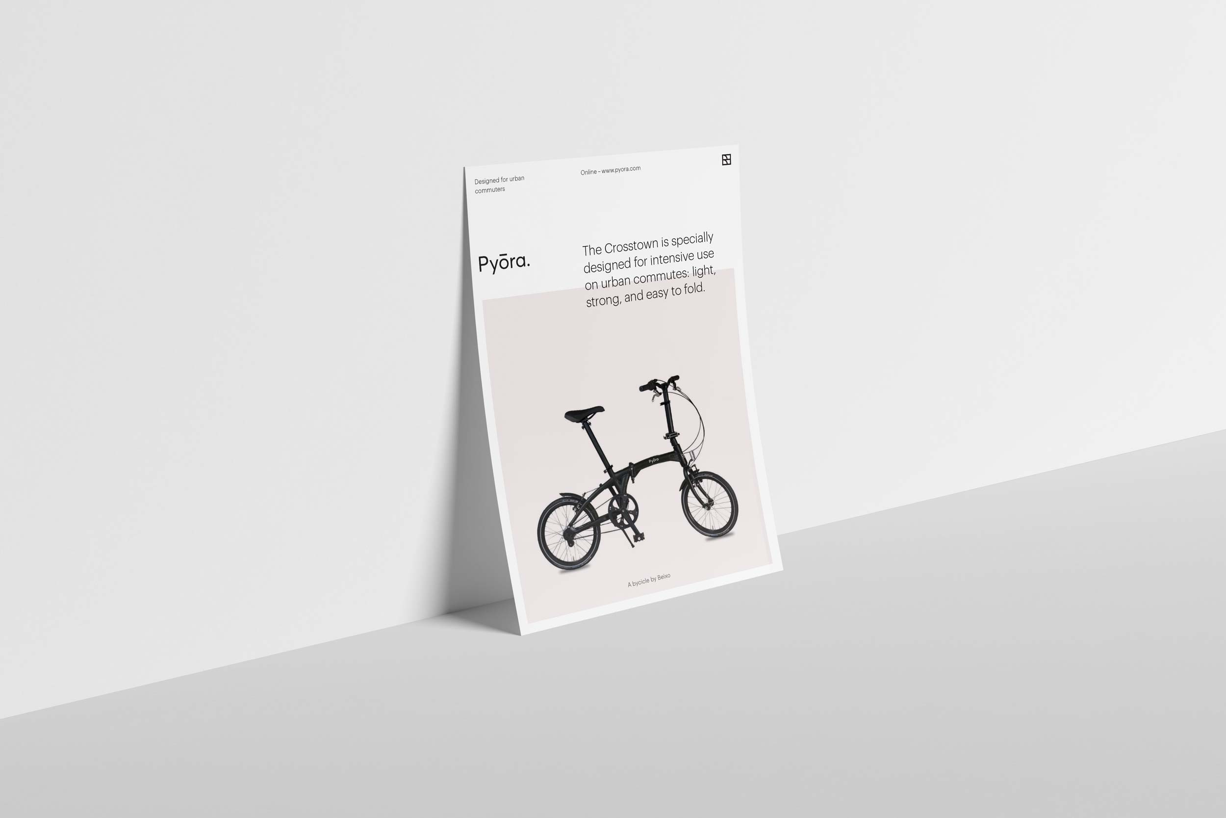 Standing flyer displaying the Pyora brand identity design