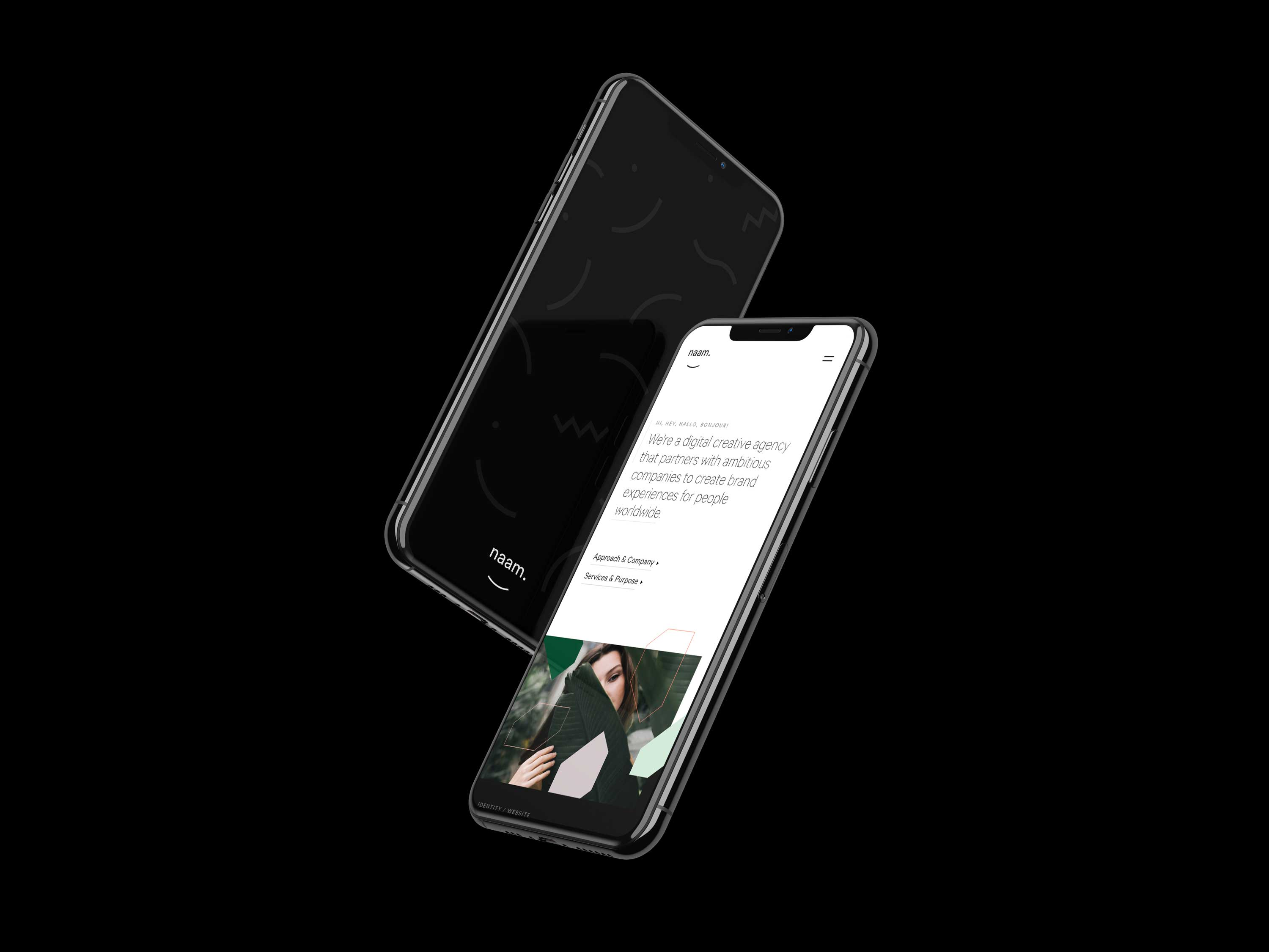 Two floating iPhone XS with the new Naam brand and website.