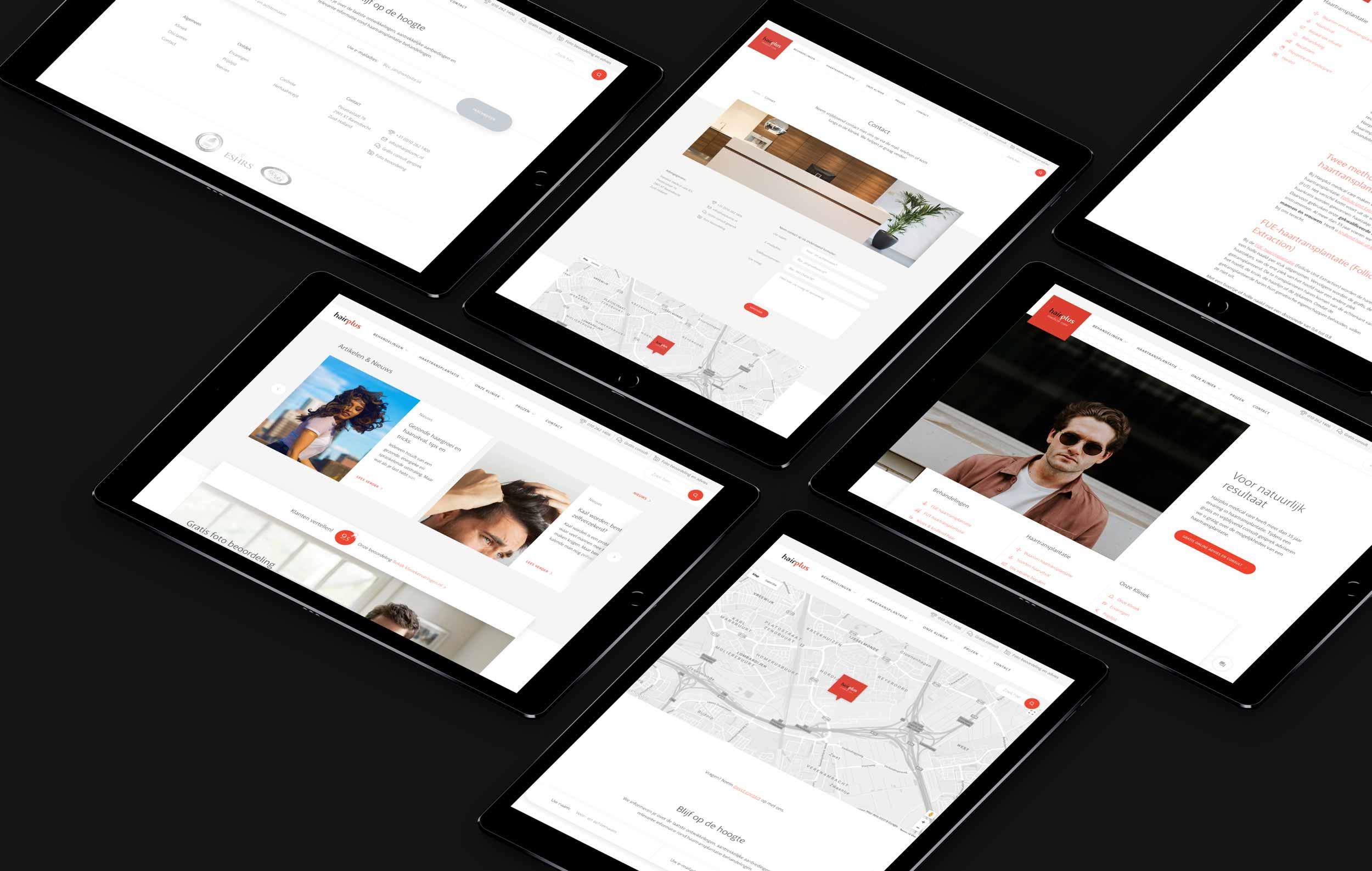 Hairplus Medical Care website afgebeeld op 6 tablets
