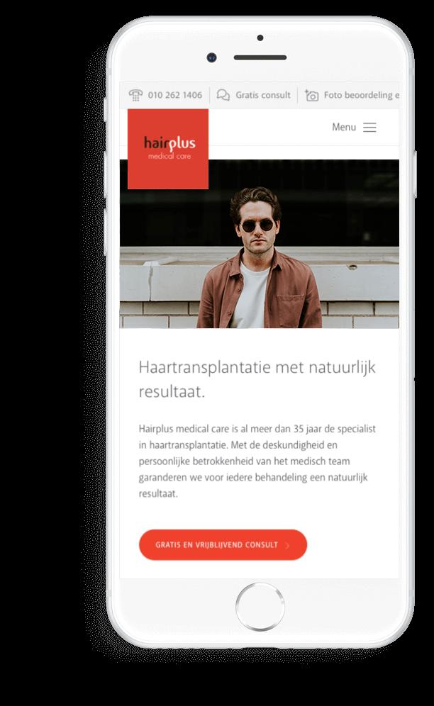 Hairplus Medical Care homepage op mobiel