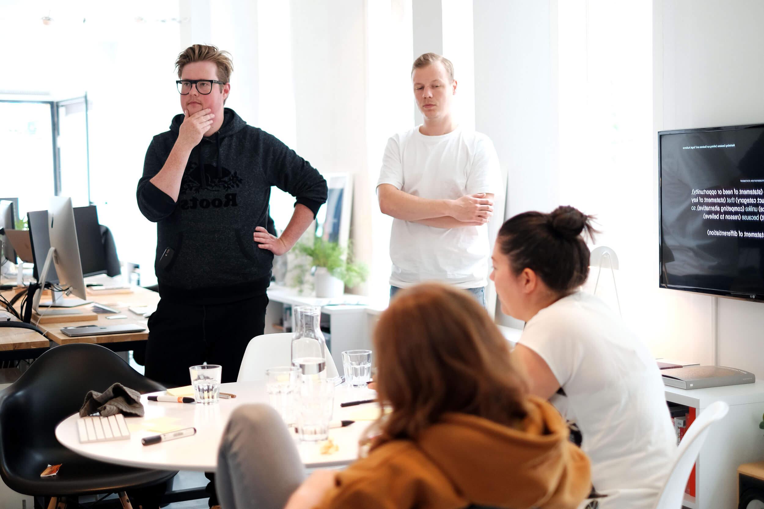 Een workshop over merkpositionering in sessie