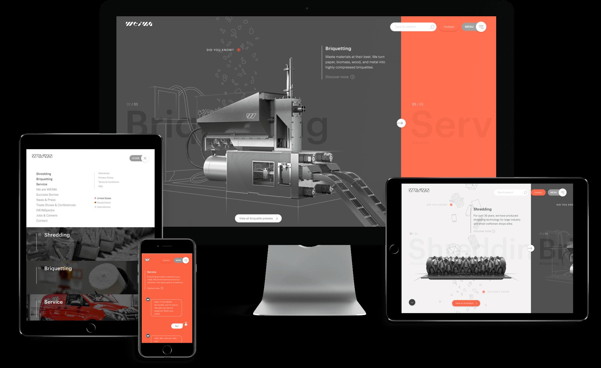 Weima website afgebeeld op mobiel, tablet en desktop