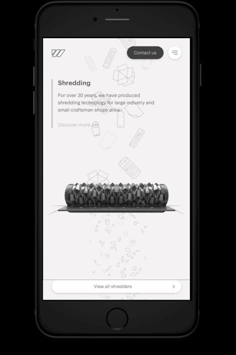 Weima homepage shredding slider afgebeeld op mobiel