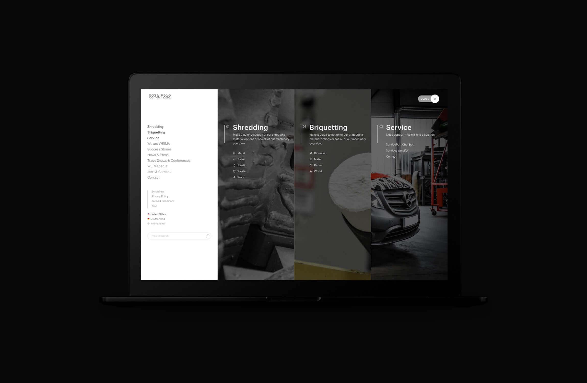 Weima menu met shredding, briquetting en service onderdelen